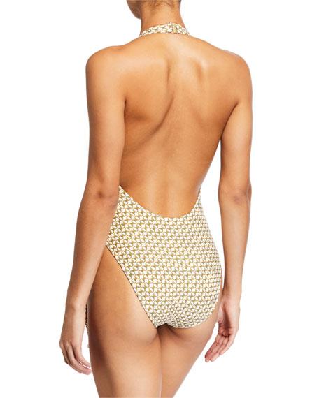 Chain-Print Deep V One-Piece Swimsuit