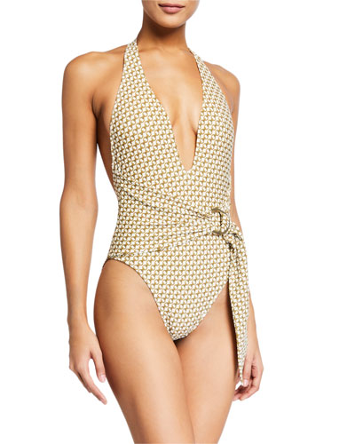 Chain-Print Deep V One-Piece Swimsuit