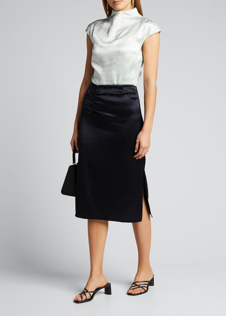 Image 1 of 1: Justine Satin Pencil Skirt