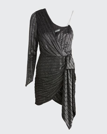 Carole Metallic One-Shoulder Cocktail Dress