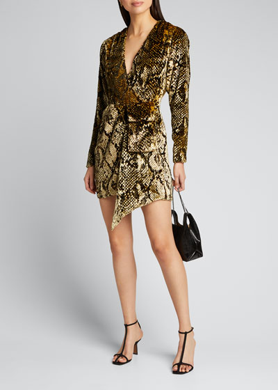 Eleanor Velvet Snake-Print Cocktail Dress