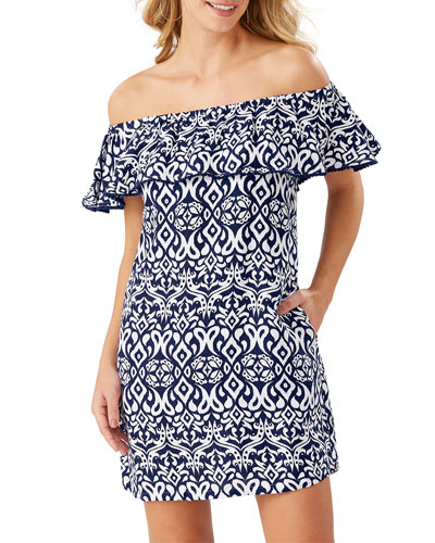 Ikat Diamonds Off-Shoulder Coverup Dress