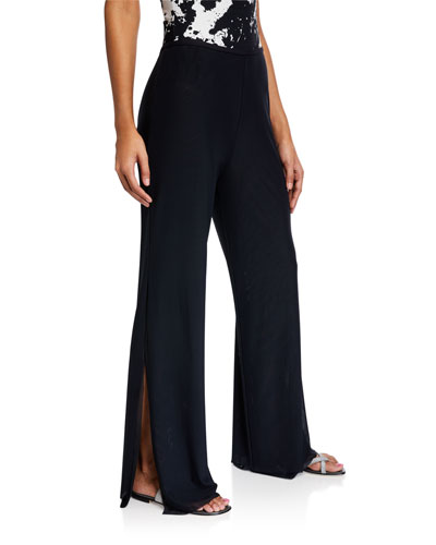 Double-Layer Wide-Leg Split Coverup Pants