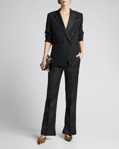 Double Breasted Tux Satin Blazer