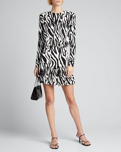 Alina Zebra-Print Long-Sleeve Dress