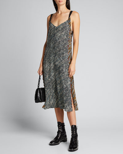 Colette Printed Side-Slit Slip Dress