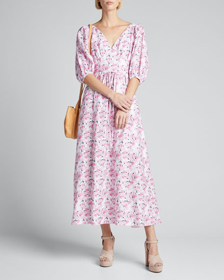 Floral-Print Puff-Sleeve Dress with Strappy Open-Back