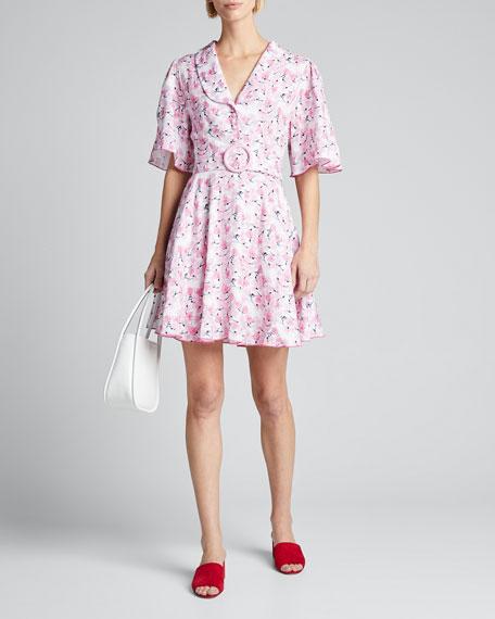 Floral-Print Flutter-Sleeve Short Dress with Full Skirt