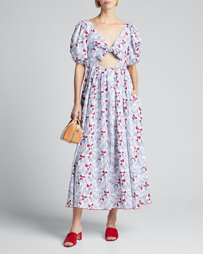 Printed Bow Dress with Cutout Front