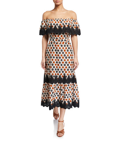 Lisselle Off-Shoulder Floral Coverup Dress w/ Lace