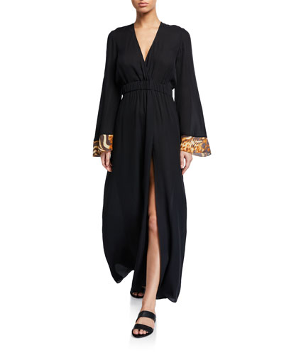 Zaida Silk Long-Sleeve Coverup Dress
