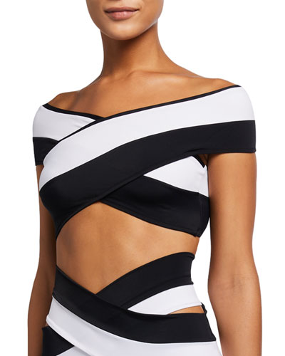 Lucette Colorblock Double Band Off-the-Shoulder Bikini Top