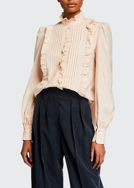 Image 1 of 1: High-Neck Ruffle Pintuck Blouse