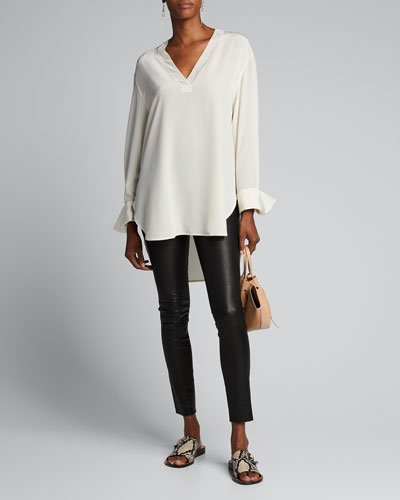 Miller Long-Sleeve High-Low Silk Crepe Blouse