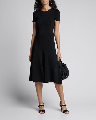 Berry Short-Sleeve A-Line Milano Dress