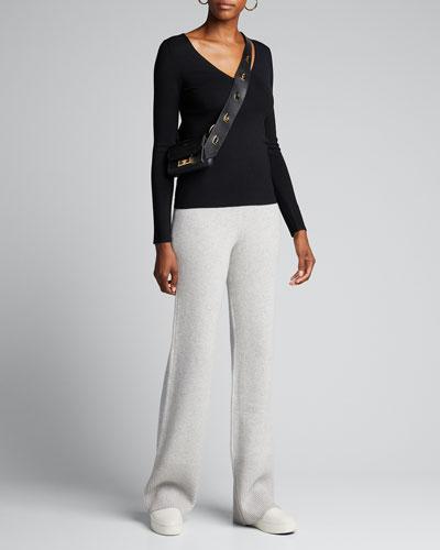 V-Neck Long-Sleeve Stretch Silk Sweater