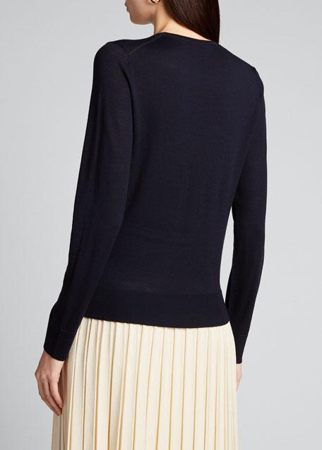 Round-Neck Wool Long-Sleeve Sweater