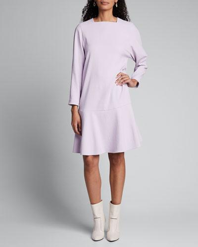 Chalky Drape Square-Neck Drop-Waist Dress