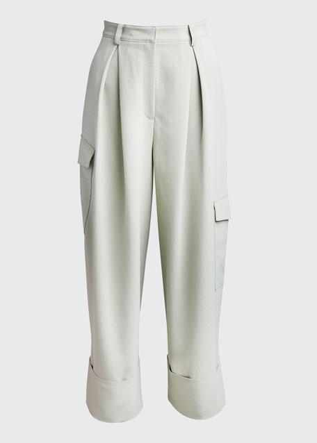 Draped Twill Pleated Wide-Leg Cargo Pants