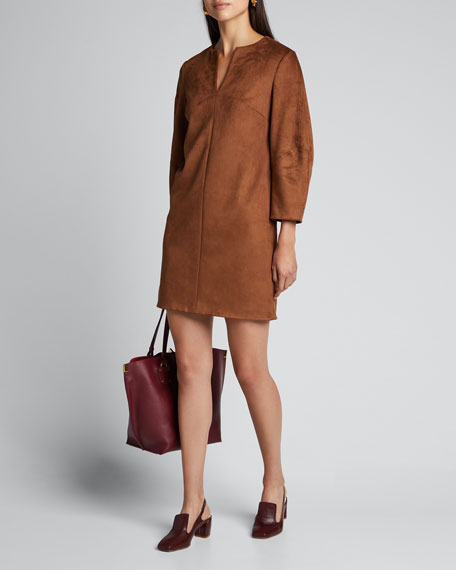Ultrasuede Sculpted-Sleeve Shift Dress
