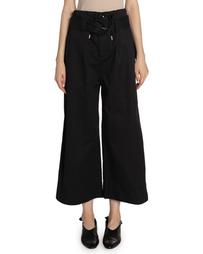 Cotton Paperbag Belted Wide-Leg Pants