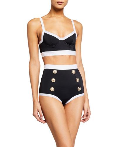 High-Waist Buttoned Two-Piece Bikini Set
