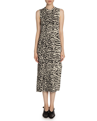 Mixed Animal-Print Sleeveless Midi Dress