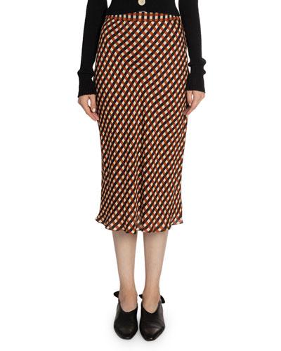 Gingham Georgette Slip Skirt