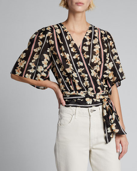 Guadaloupe Printed Voile Wrap Blouse