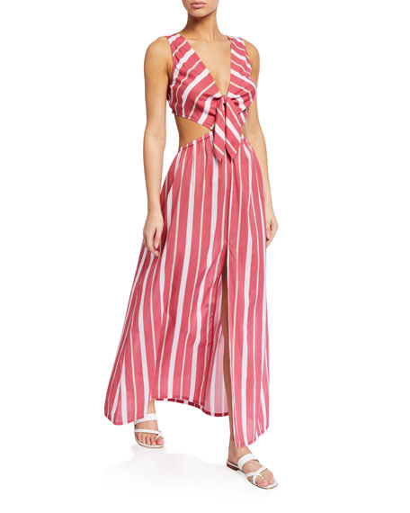 Image 1 of 1: Chile Striped Tie-Back Maxi Dress