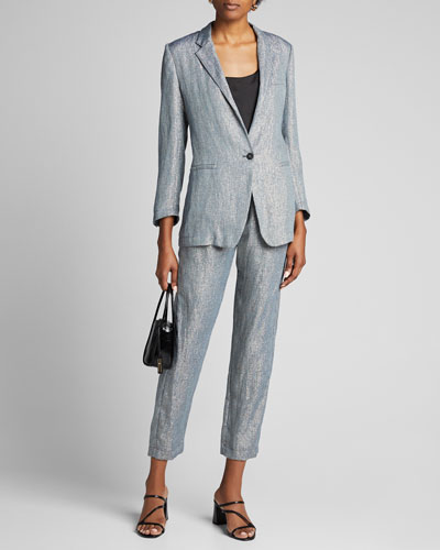Metallic Linen Single-Button Jacket