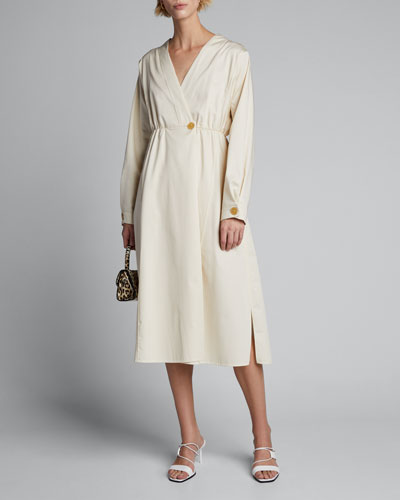Mako Long-Sleeve Cotton Twill Midi Dress