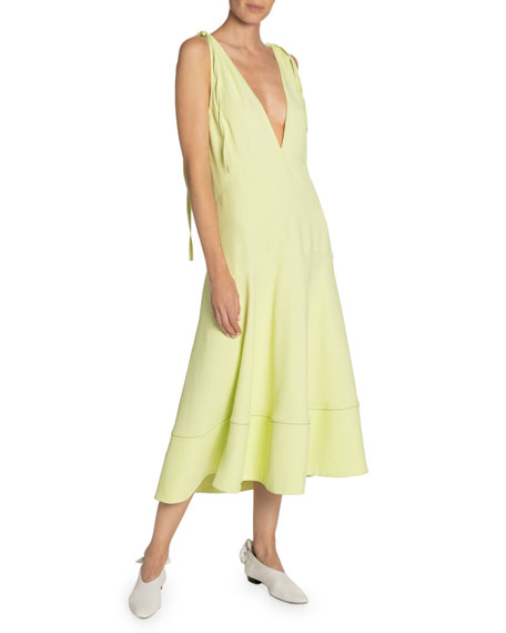 Image 1 of 1: Plunging Shoulder-Tie Sleeveless Midi Dress