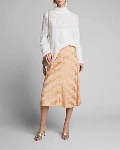 Fluid Metallic Jacquard Midi Skirt
