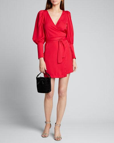 Frankie Blouson-Sleeve Wrap Dress