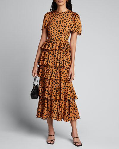 Serena Cheetah-Print Tiered Dress