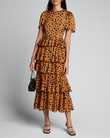 Serena Cheetah-Print Tiered Dress