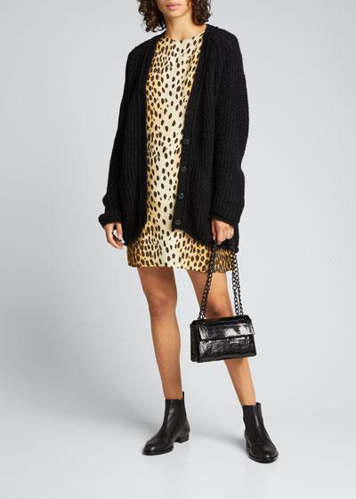 Cheetah-Print Short-Sleeve Shift Dress