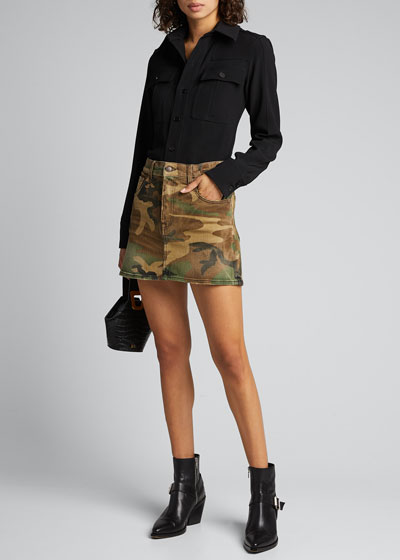 High-Rise Camo-Print Midi Skirt