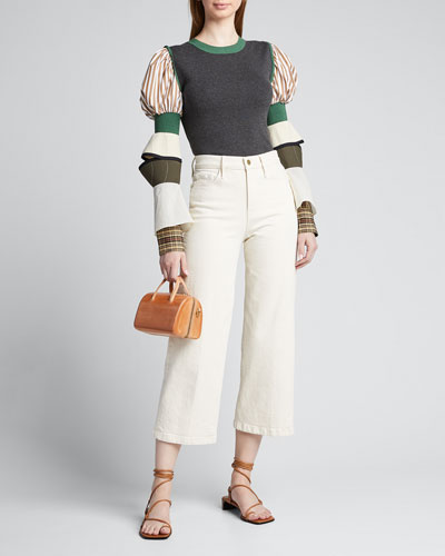 Contrast Puff-Sleeve Knit Sweater