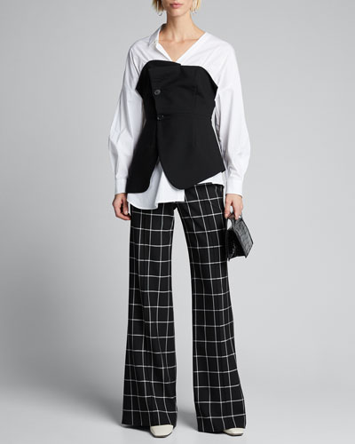 Poplin Shirt with Wool Corset