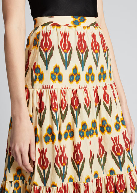 Ikat Ruffle Bottom Tiered Skirt