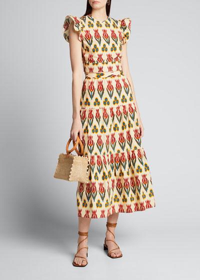 Ikat Ruffle Bottom Tiered Skirt