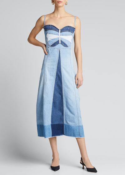 Butterfly Intarsia Denim Midi Dress