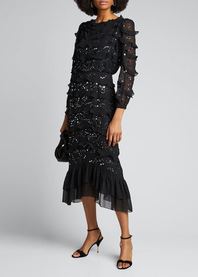 Isa Tiered Silk Embellished Dress