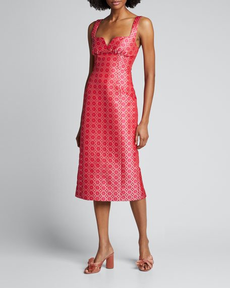 Halle Sweetheart Satin Midi Dress