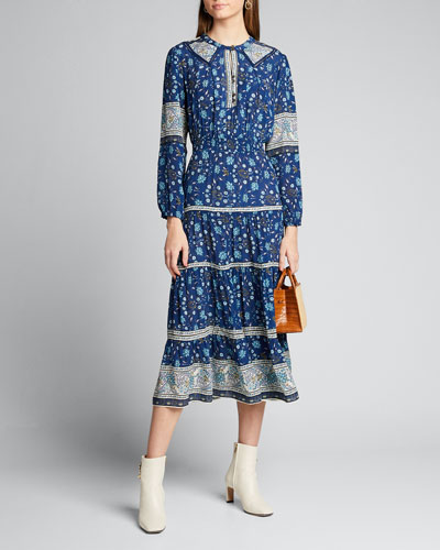 Penelope Long-Sleeve Midi Dress