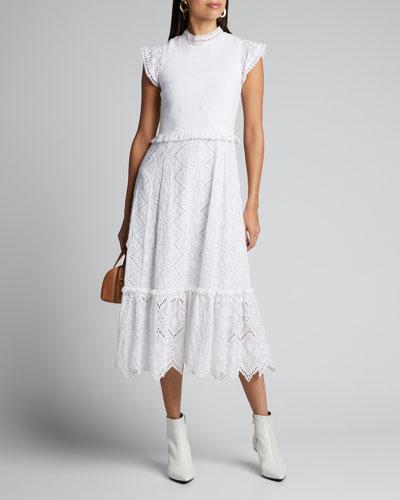 Zippy Smocked Midi Dress