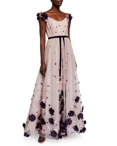 Off-the-Shoulder Point d'Esprit Draped Gown w/ 3D Flowers