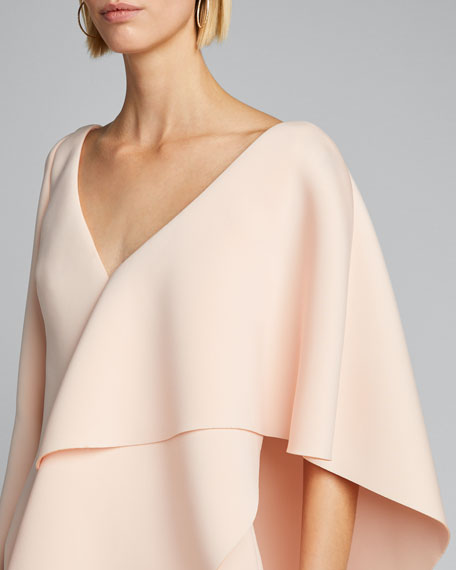 V-Neck Long-Sleeve Asymmetric Ruffle Cape Shoulder Gown